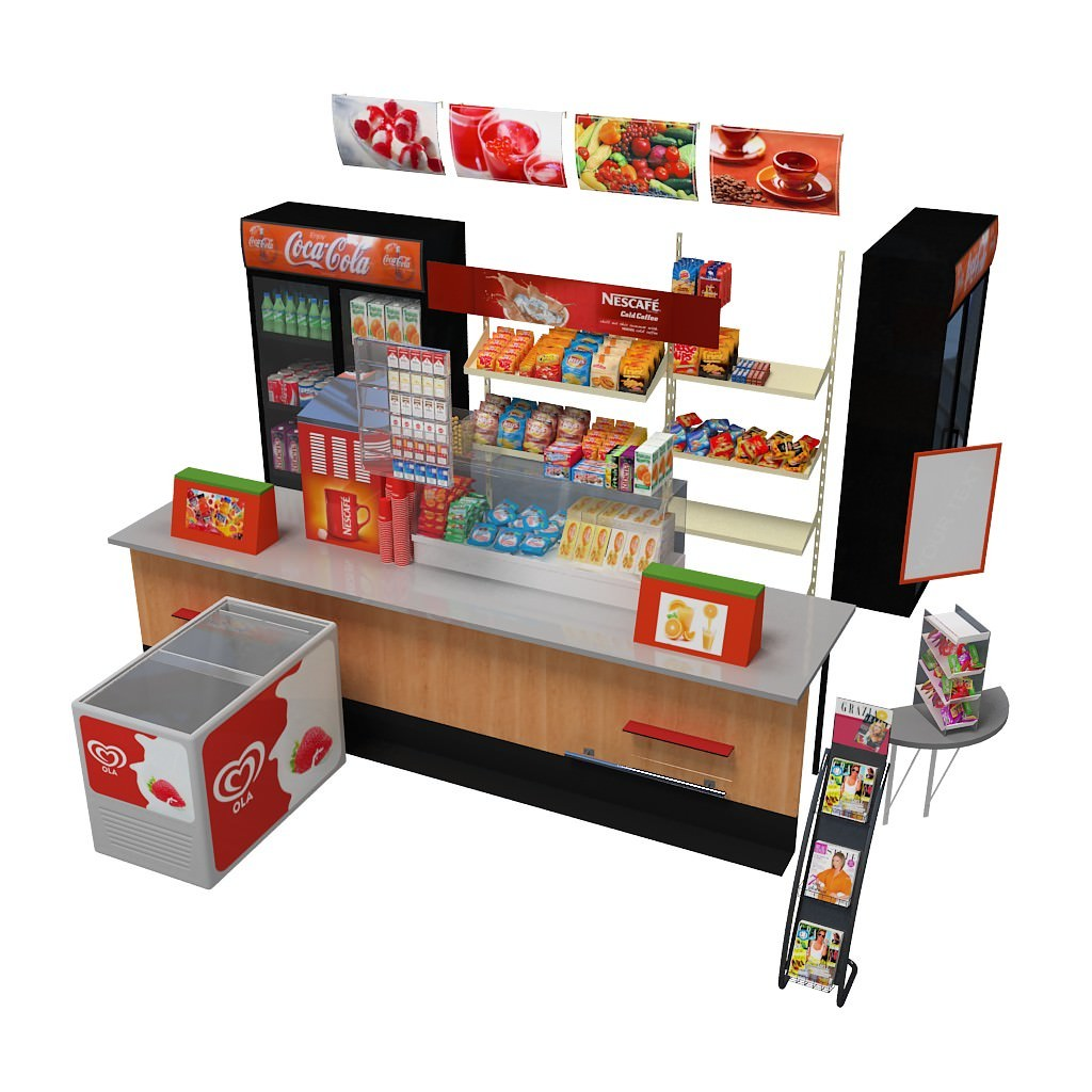 Kiosk 3d model max obj c4d for Food bar 3d model