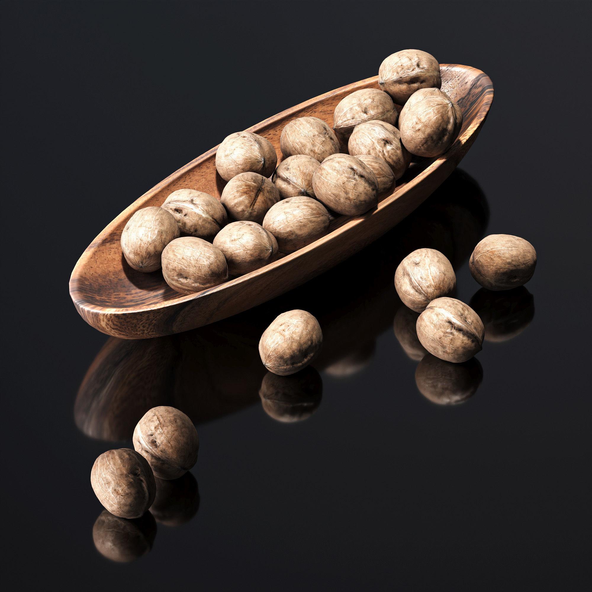 Walnut in a wooden nut bowl