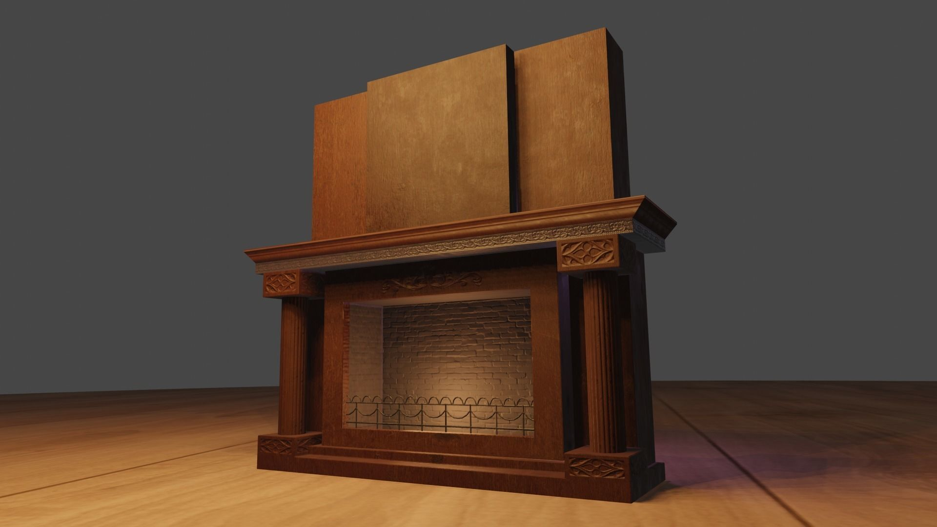 Classic Royal Fireplace Lowpoly