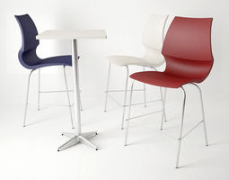 Knoll Gigi Barstool and Table 3D Model