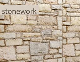 Stone Wall masonry 3D model