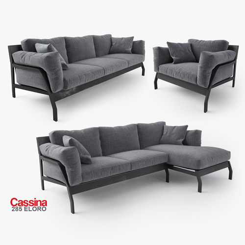 cassina eloro sofas collection 3d cgtrader. Black Bedroom Furniture Sets. Home Design Ideas