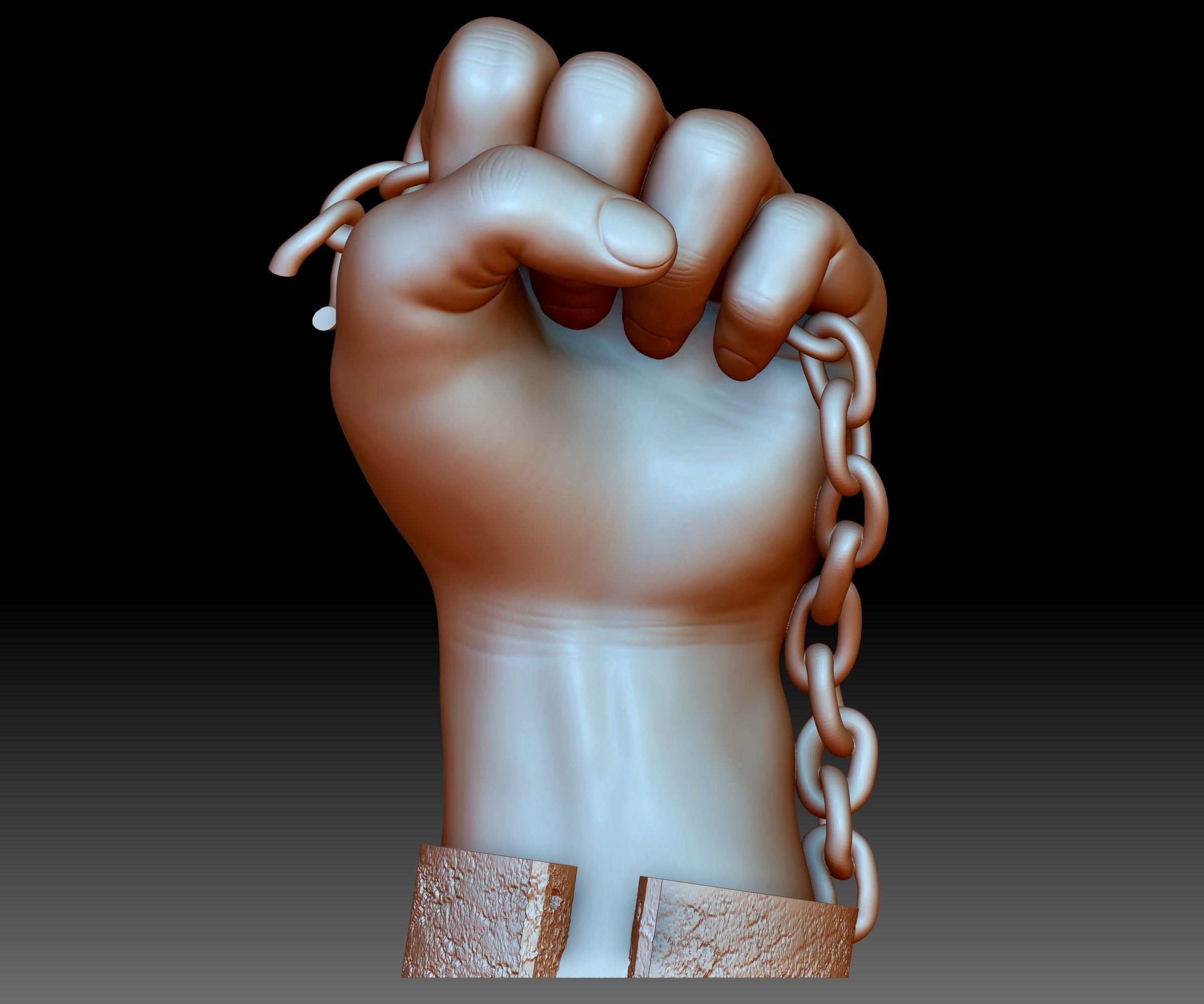 Black lives matter fist sign hand sign logo emblem 3D printable