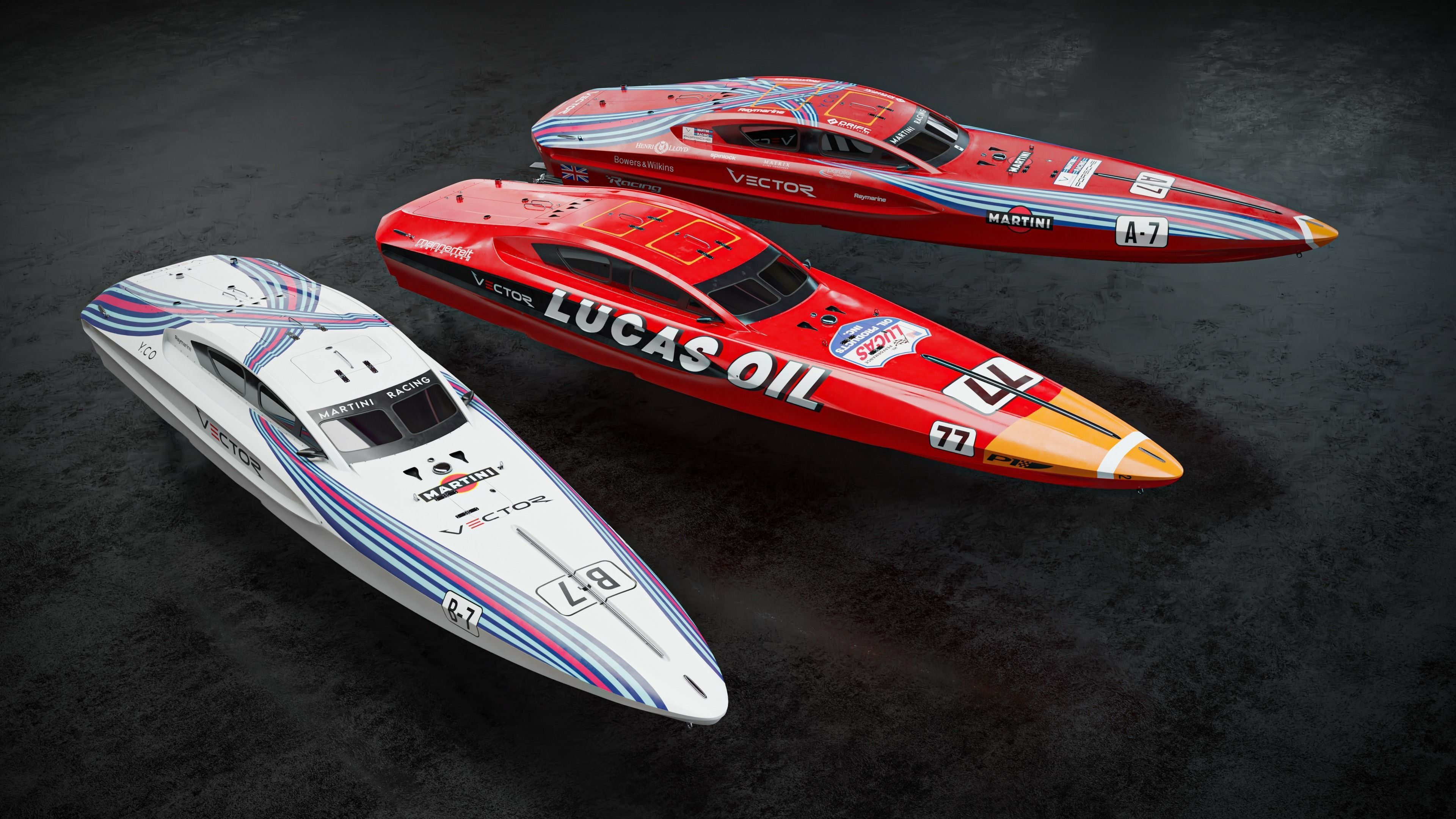 Vector V40R  offshore powerboat with 3 racing liveries