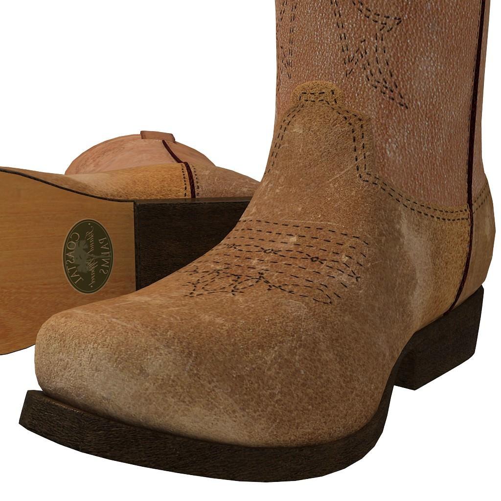 Cowboy boots 3d model max obj c4d mtl for New model boot