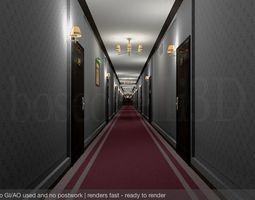 Fancy Hotel Corridor Ready to Render 3D model