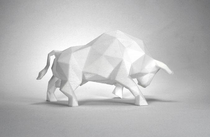 low poly bull sculpture 3d model max obj 3ds stl 1