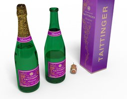 Champagne bottle, cork, box 3D Model