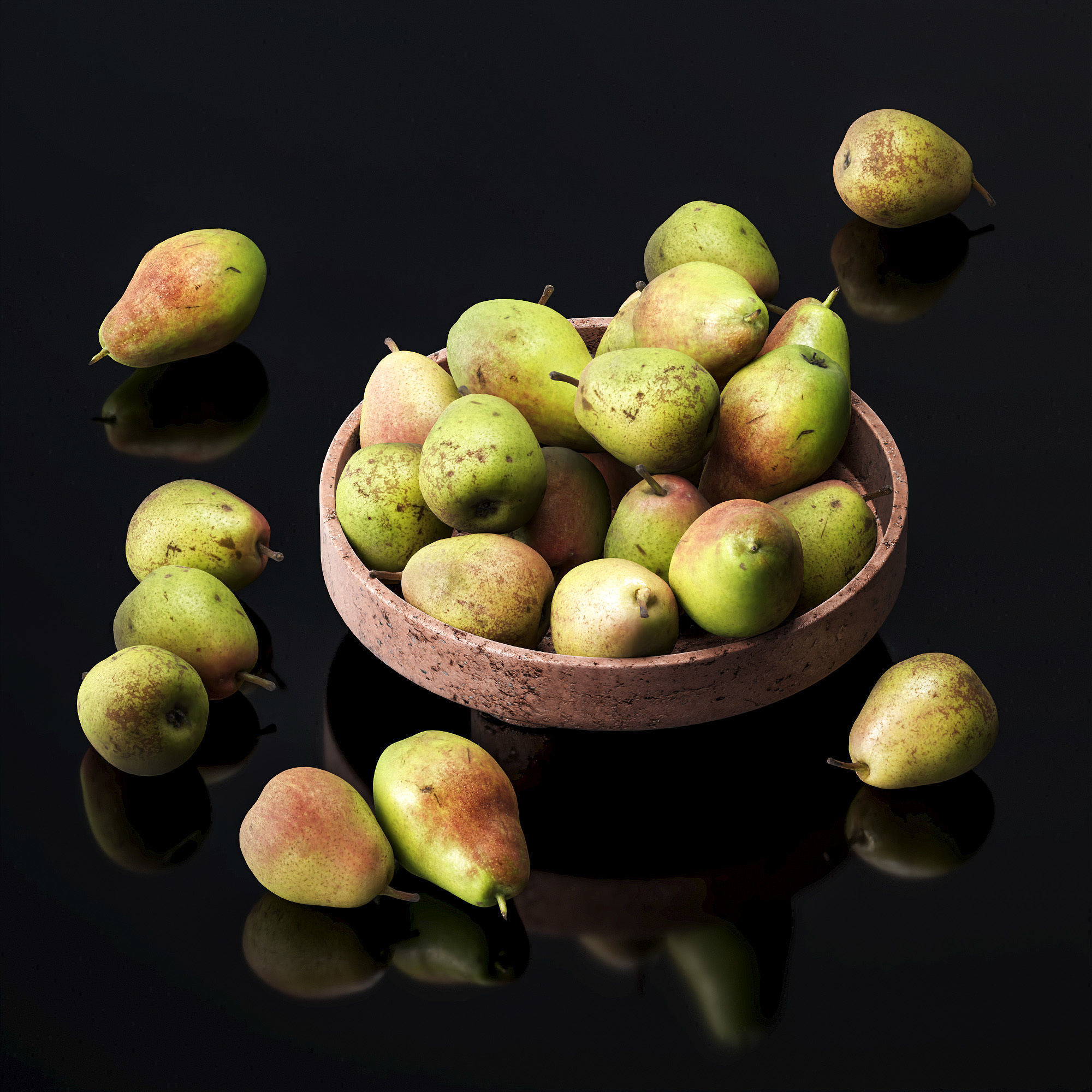 Forest beauty pear in a clay fruit bowl