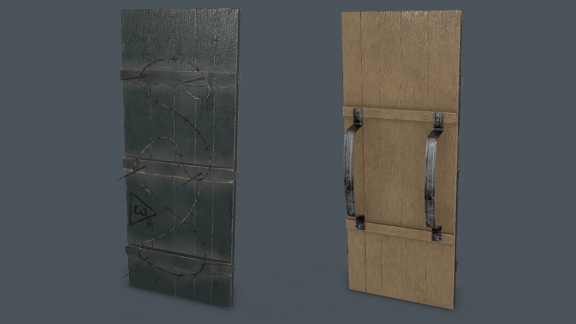 Post-Apocalypse Wooden Shield with Barbed Wire