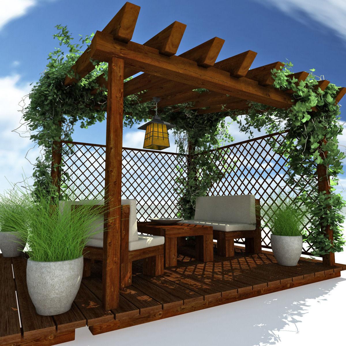 Pergola Garden 3d Model Max Obj 3ds Fbx Mtl 1 ...