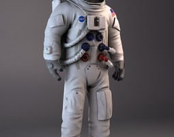 nasa astronaut apollo 3d model rigged max obj 3ds fbx c4d lwo lw lws