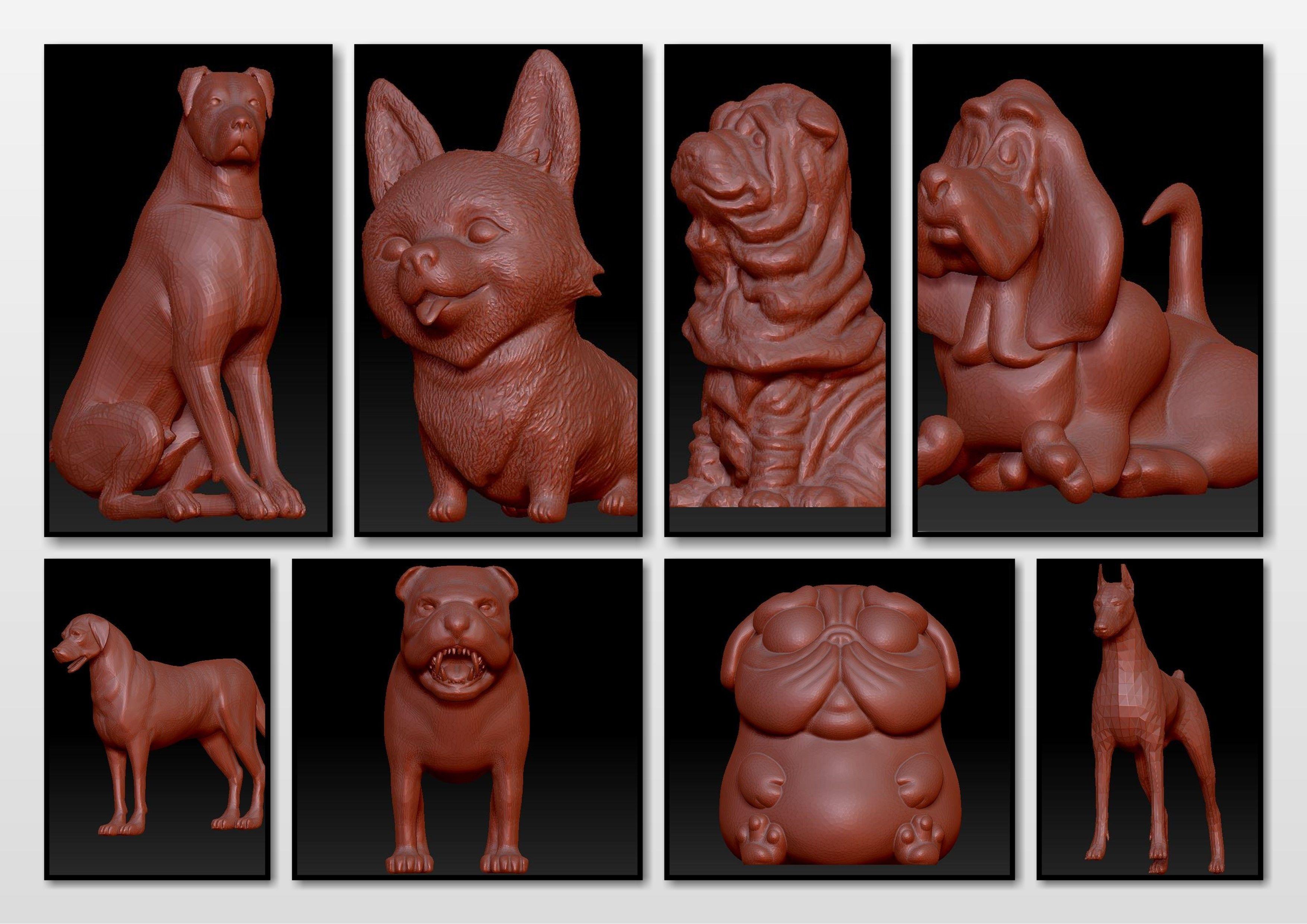 dogs animal pet miniatures statue