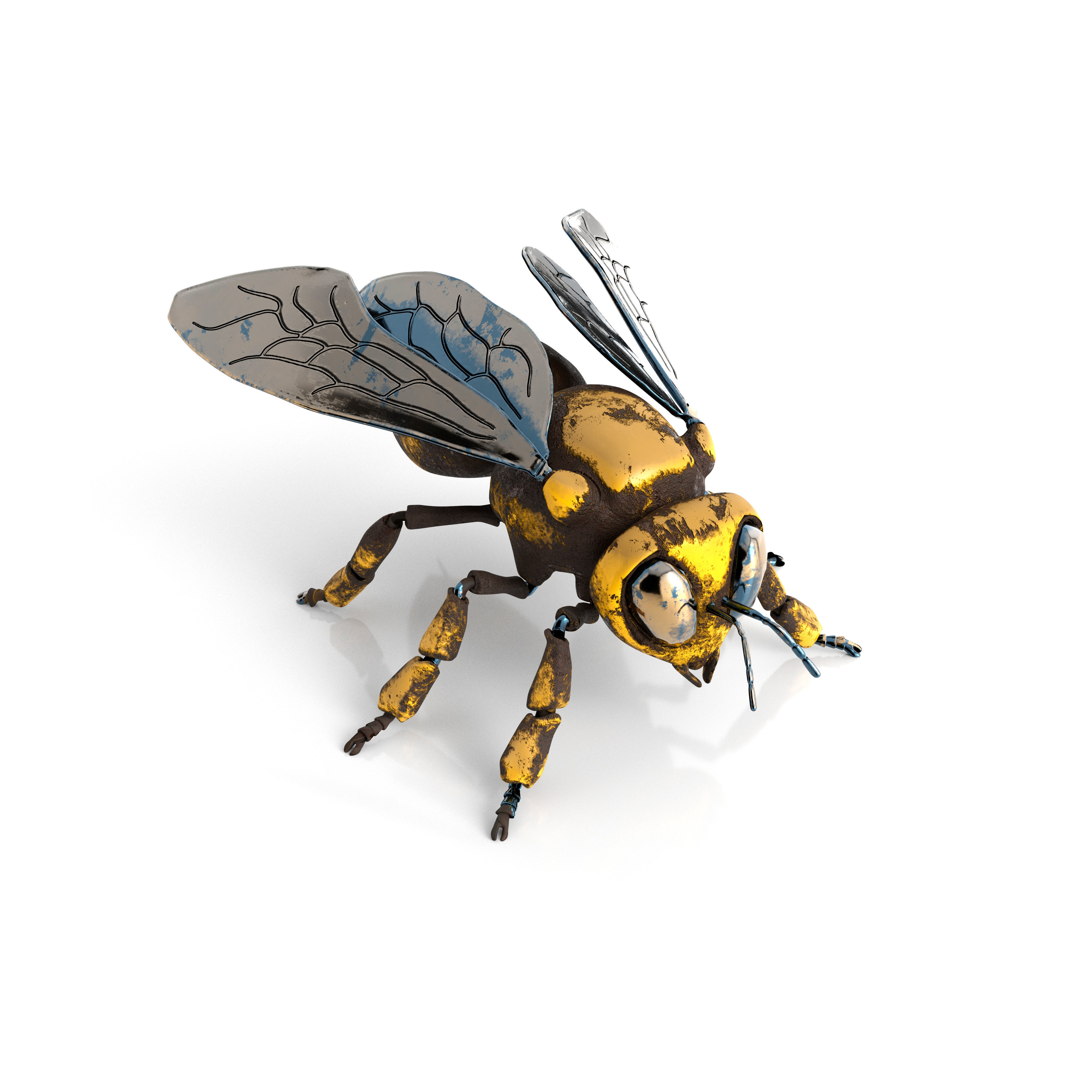 Mechanical bee Low poly model