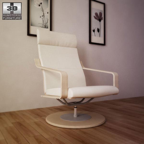 Ikea Poang Chair Living Room: IKEA POANG Swivel Armchair 3D Model Game Ready .max .obj