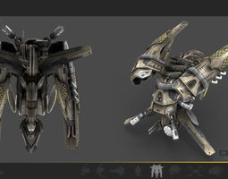 drone v4 scifi 3d model low-poly max obj 3ds fbx