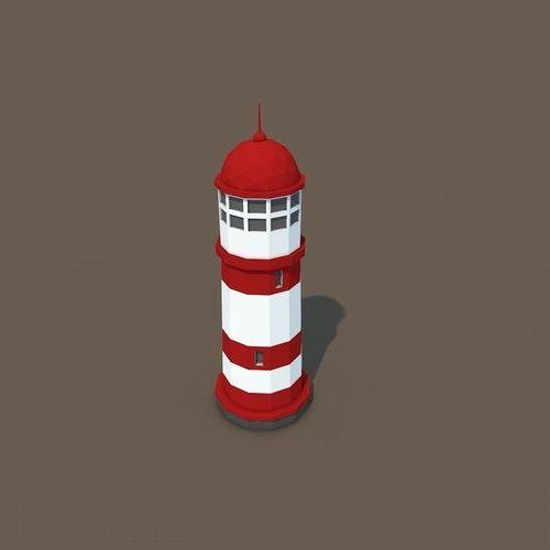 low poly signal lighthouse  3d model low-poly obj fbx c4d 1