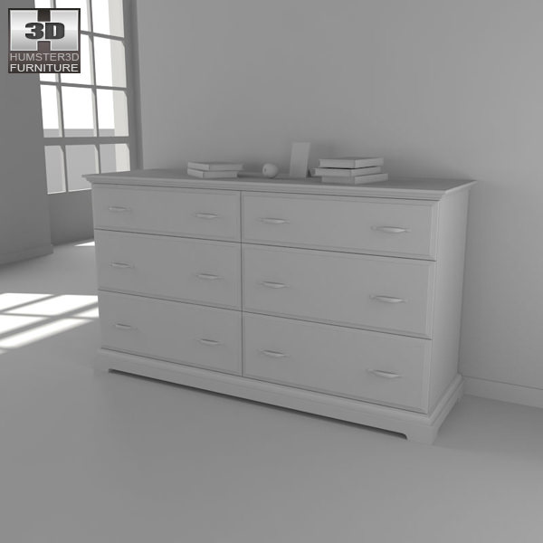 ikea birkeland chest of 6 drawers 3d model game ready max obj 3ds fbx. Black Bedroom Furniture Sets. Home Design Ideas