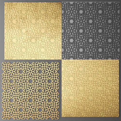 lattice arab panel 3d 9 3d model max obj mtl fbx unitypackage prefab 1