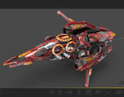 game-ready 3d asset drone v8 red manga