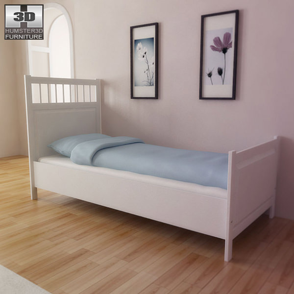 Ikea Hemnes Bed 3d Model Game Ready Max Obj 3ds Fbx