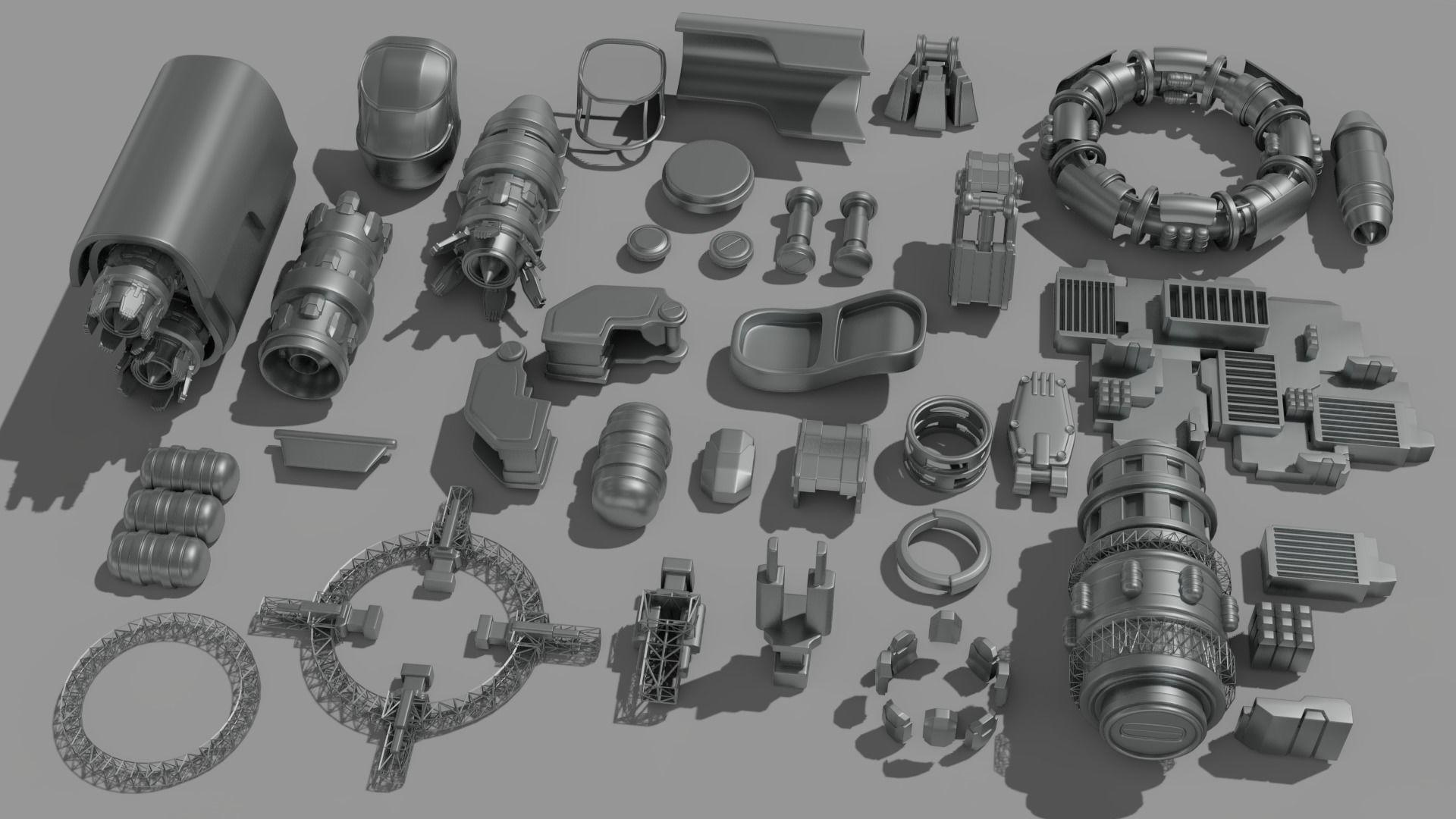 Spaceship Parts Kitbash Pack