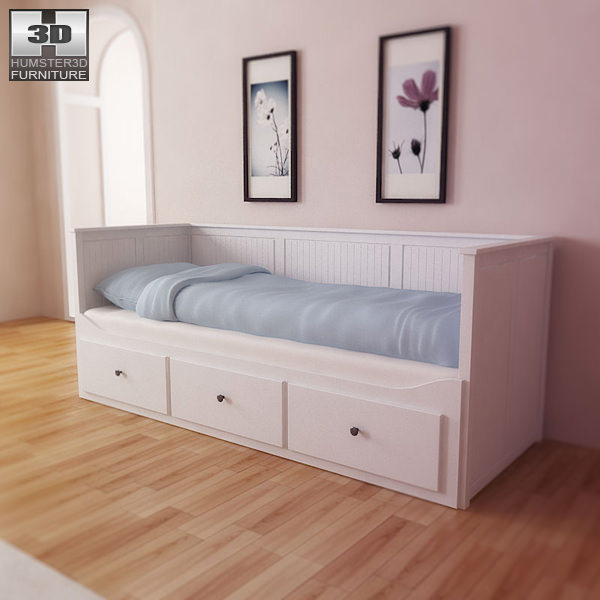 ikea hemnes day bed 3d model game ready max obj 3ds fbx. Black Bedroom Furniture Sets. Home Design Ideas