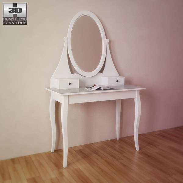 ikea hemnes dressing table with mirror 3d model game ready
