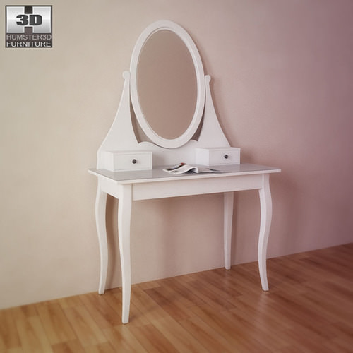 Ikea hemnes dressing table with mirror 3d model game ready for Dressing ikea 3d