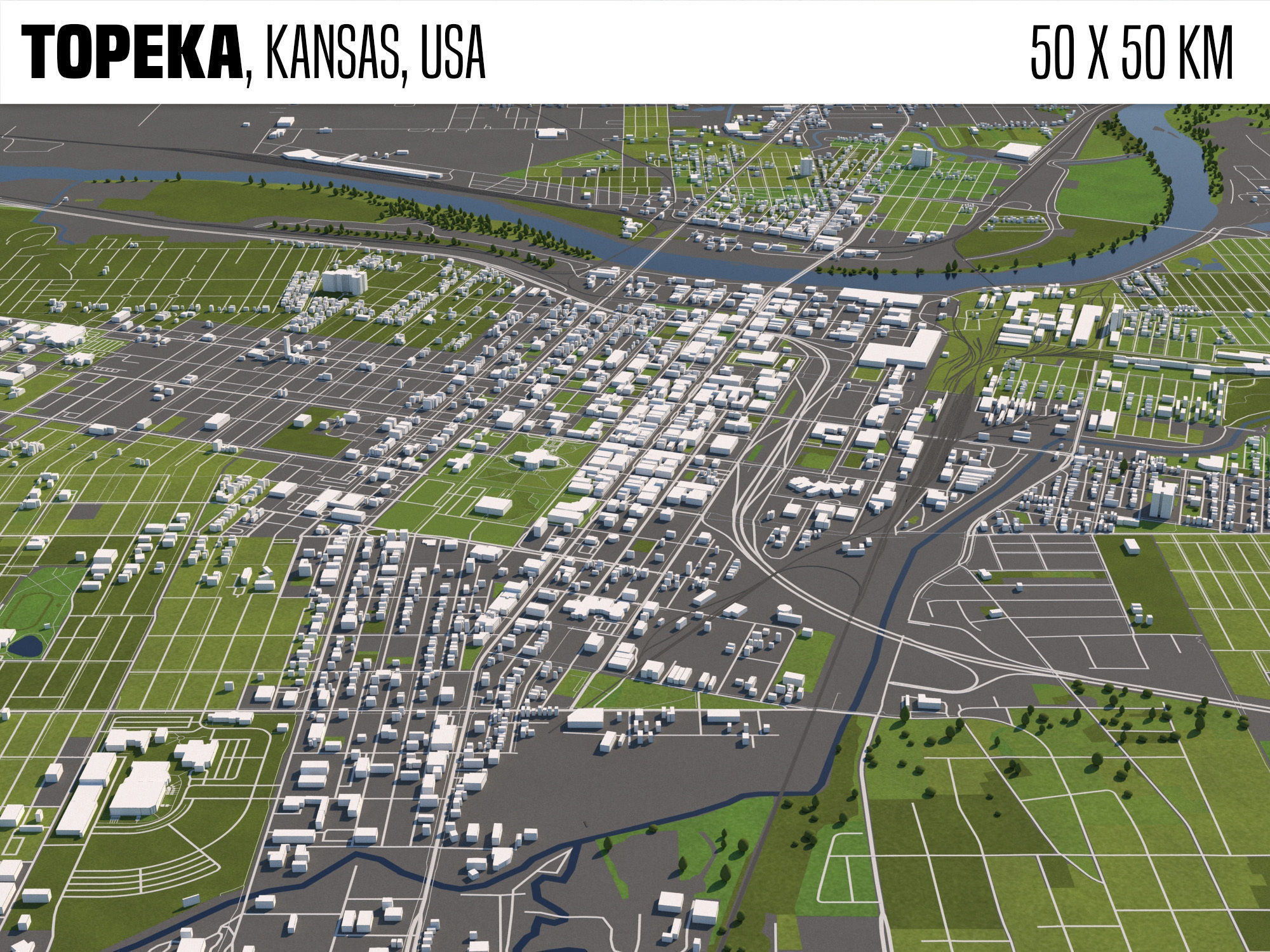 Topeka Kansas USA 50x50km
