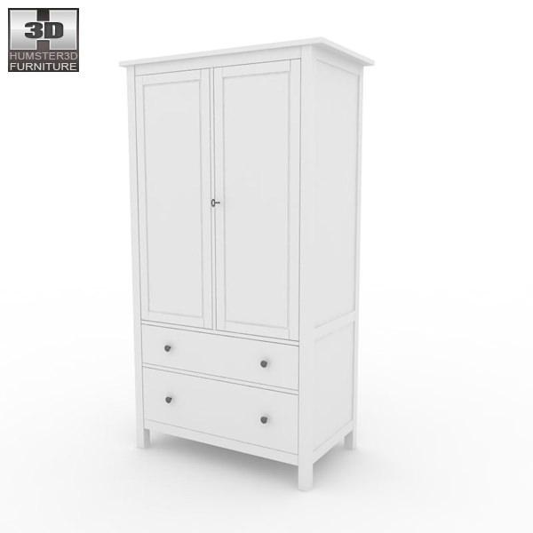 ikea hemnes wardrobe 3d models. Black Bedroom Furniture Sets. Home Design Ideas