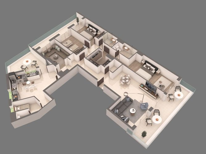 3d apartment floorplan 3d model max obj for Turn floor plan into 3d model