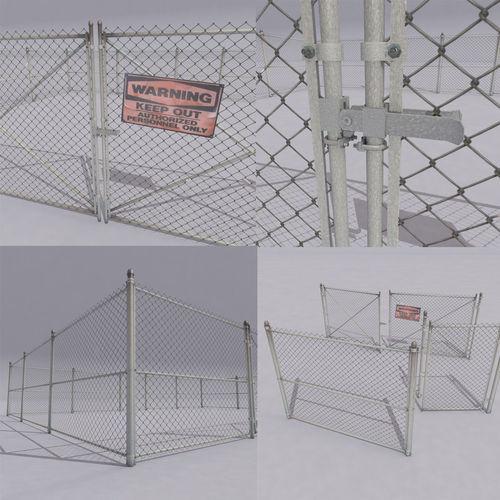 chain link metal fence  3d model low-poly max obj mtl 3ds fbx 1
