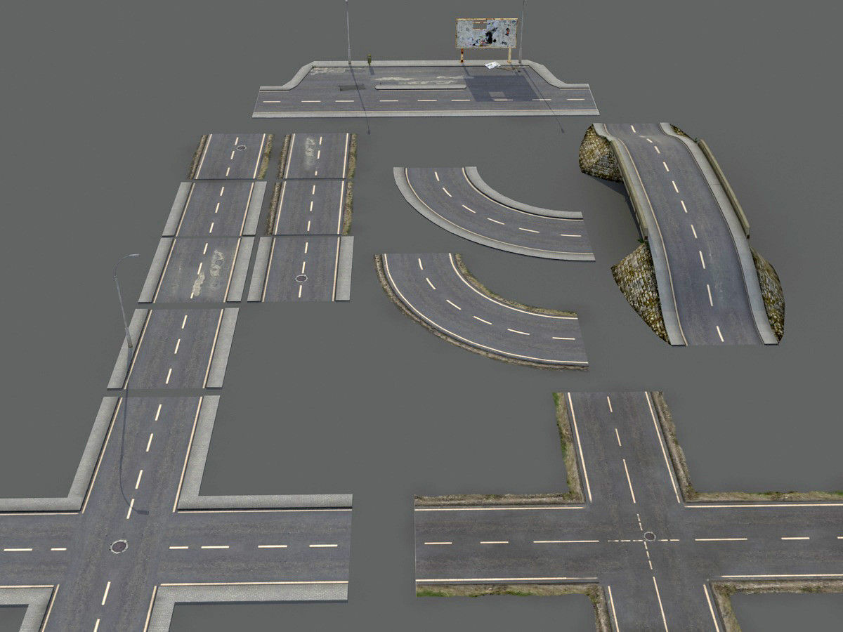 3d model damaged road pack low poly vr ar low poly max for Mobel 3d download