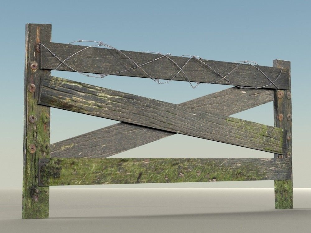 3d model old wooden fence pack vr ar low poly max obj for 3d fence