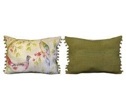 voyage cushion - peacocks -pom pom pillow 3d