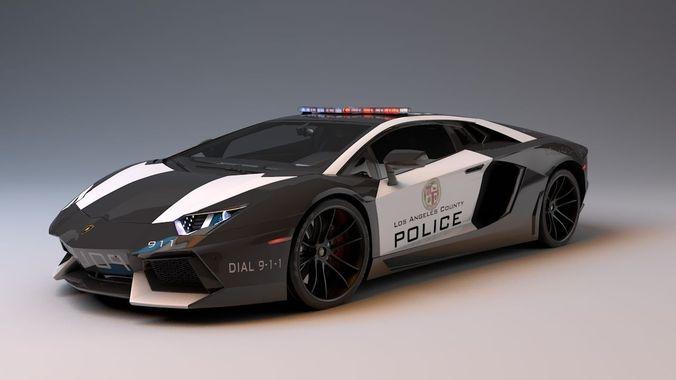 Lamborghini Aventador La Police 3d Model Game Ready