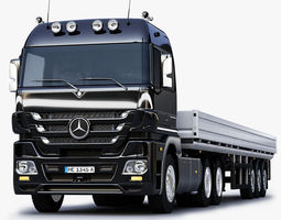 3D model Mercedes Benz Actros Trailer Truck