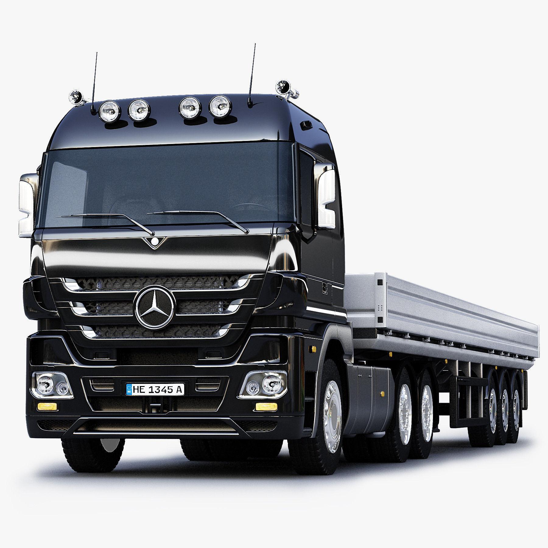 3D Model Mercedes Benz Actros Trailer Truck