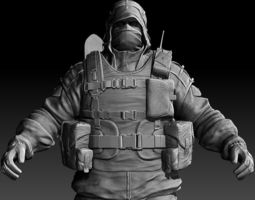 post-apocalyptic character zbrush hd 3d model