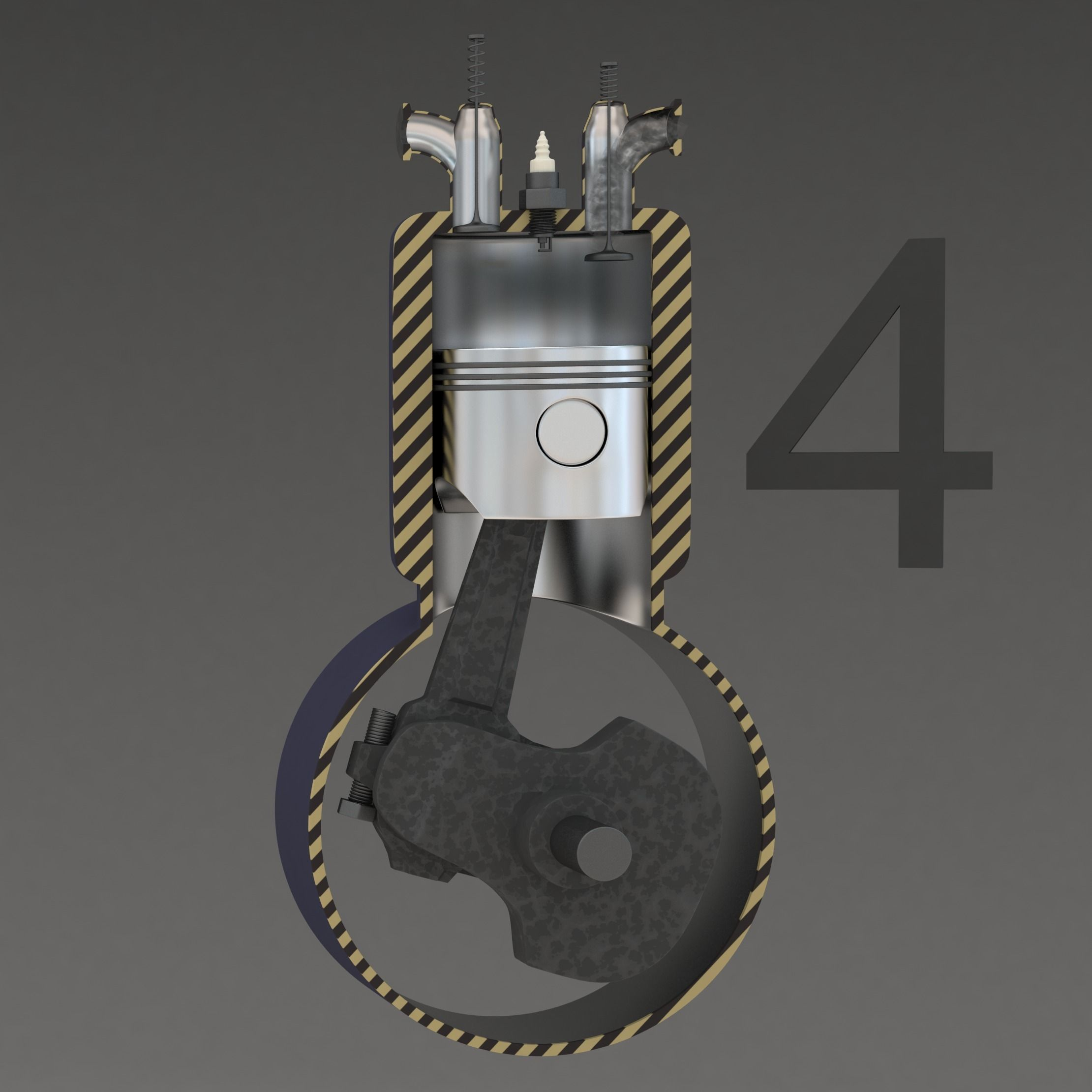 Four Stroke Engine Animation 3D Model animated rigged .max ...