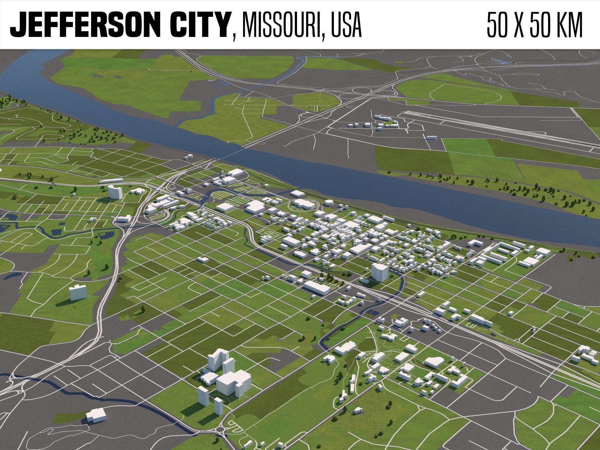 Jefferson City Missouri USA 50x50km