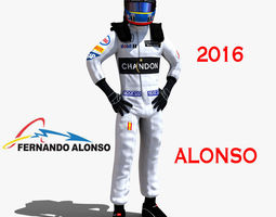 fernando alonso 2016 rigged 3d model realtime