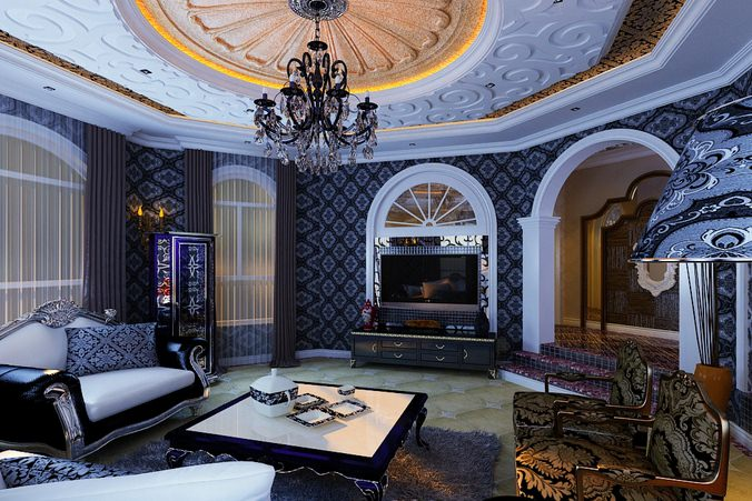 Posh Living Posh Living Room With Eminent Lighting 3D Model