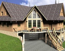 Log House with garage 3D