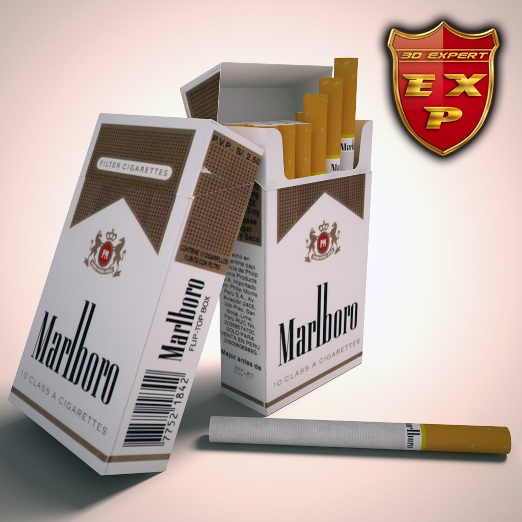 Marlboro lights cigarette pack 3D Model .max .obj .3ds ...