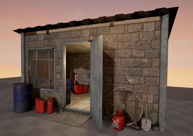 shed with props 3d model low-poly obj mtl fbx 1