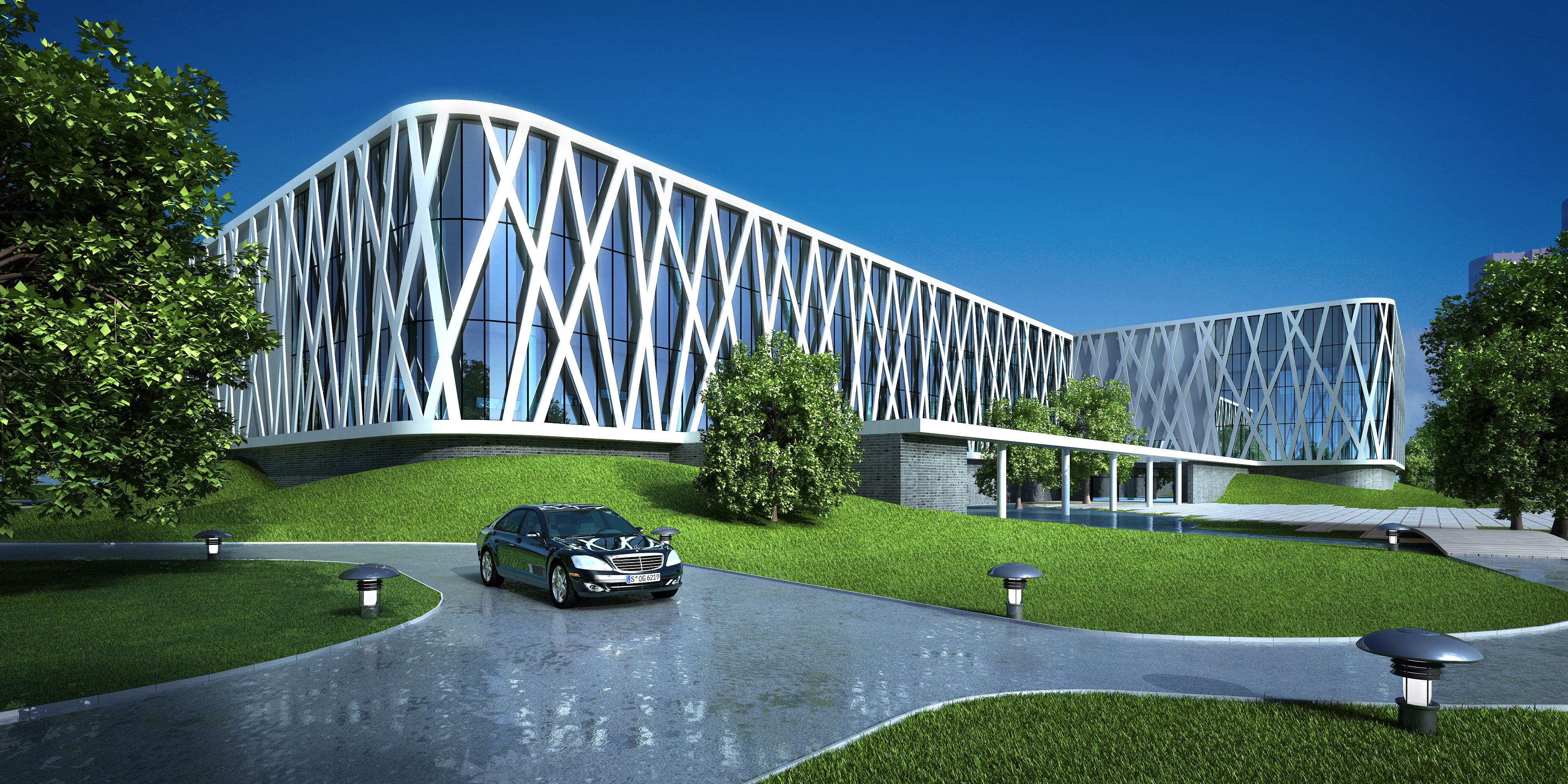 Modern building white modern building 3d model