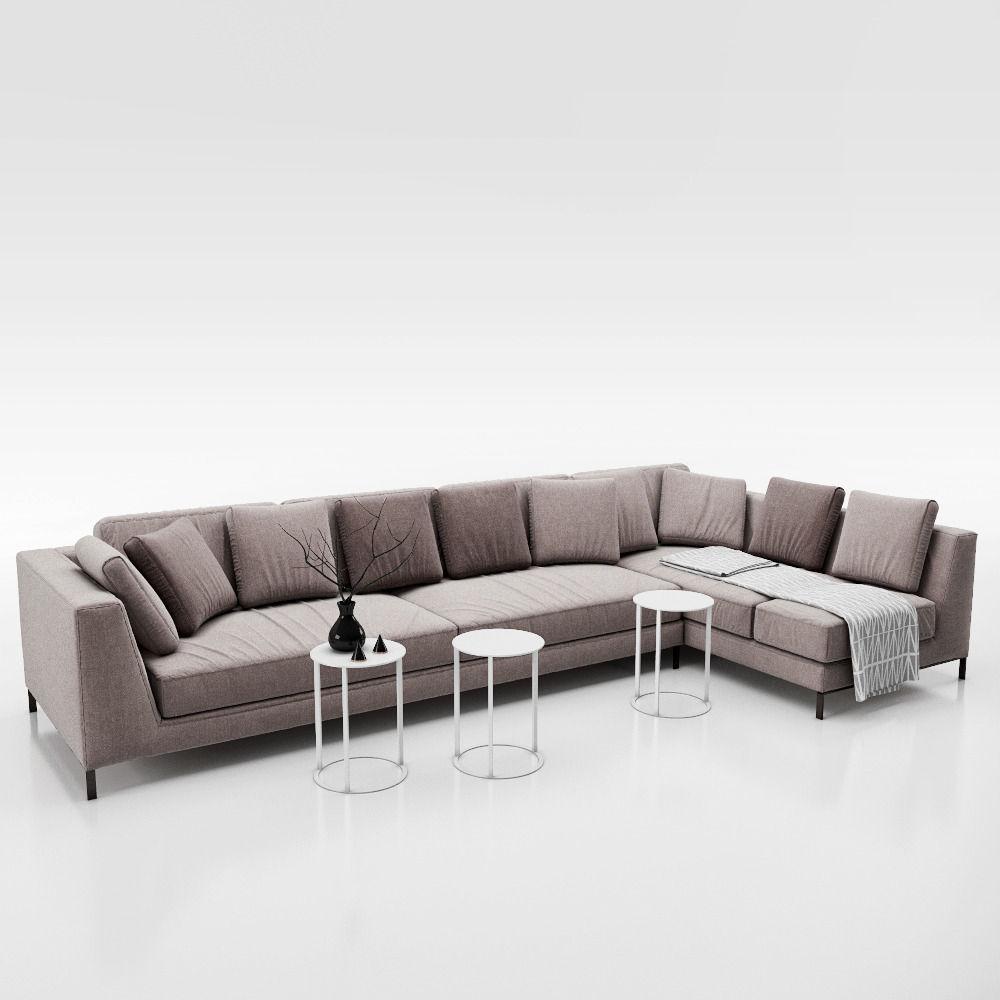sofa b and b italia ray 3d model max obj fbx. Black Bedroom Furniture Sets. Home Design Ideas