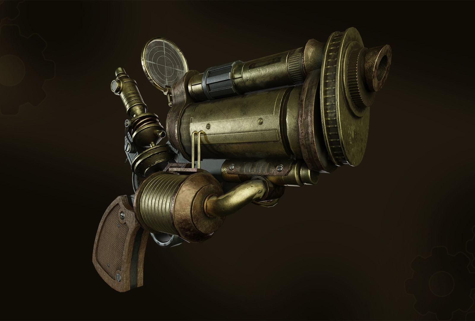 Steampunk gun whith microscope